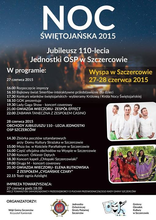 Program obchodów Nocy Świętojańskiej - Wyspa Szczerców 2015